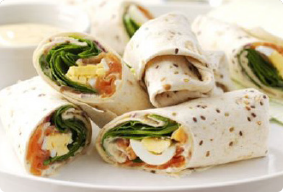 Salmon & Egg Wraps with Mustard Mayo